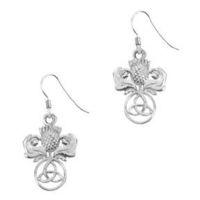 Scottish Thistle Trinity Knot Silver Earrings 9228